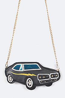 Vintage Race Car Crossbody Convertible Clutch Bag