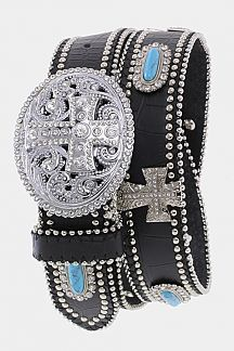 Crystal Cross Buckle Stone Studded Belt