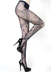 Stars And Swirling Ribbons Fishnet Tights