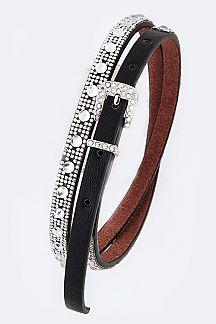 Crystal Dots Iconic Fashion Skinny Belt