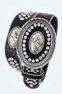 Rodeo Conchos Iconic Crystal Western Belt