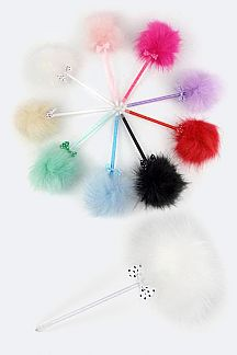 Fur Pom & Bow Ball Pen
