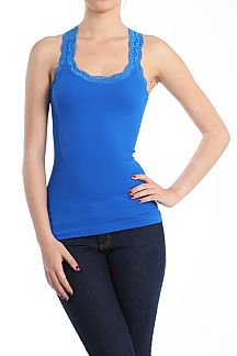Lace Trim Racerback Ribbed Seamless Tank