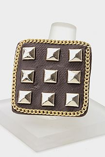 Pyramid Studs Square Stretch Ring