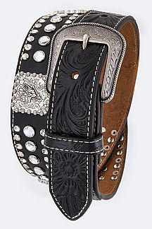 Cowboy Concho Embossed Leather Men's Belt