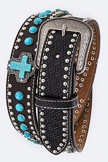 Turquoise Cross Embossed Leather Men's Belt