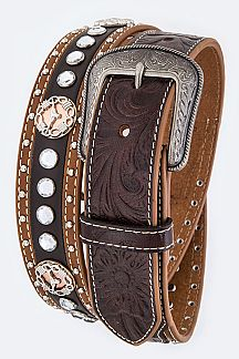 Longhorn Concho Crystal Studs Embossed Leather Belt