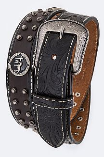 Cross & Horse Concho Calf Leather Western Belt
