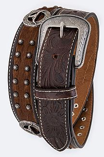 Longhorn Choncho Calf Leather Western Belt