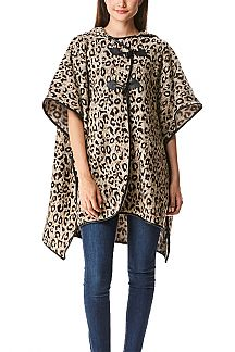 Leopard Print Hooded Shawl