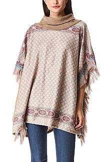 Turtle Neck Fleeced Fringe Poncho