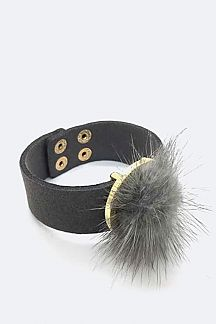 Fur Pom Leather Cuff