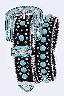 Turquoise Studs Leather Belt
