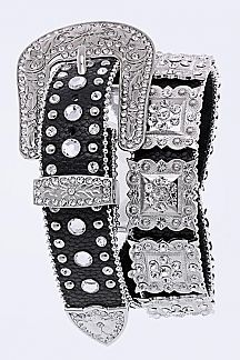 Western Crystal Statement Leather Belt