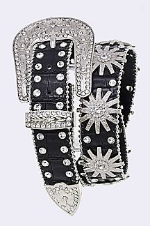 Crystal Sunburst Iconic Fashion Leather Belt