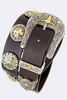 Cross Conchos Texans Leather Belt