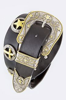 Star Conchos Western Leather Belt