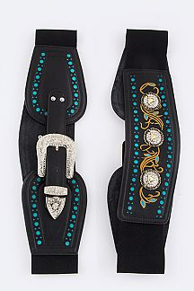 Crystal Leather Western Stretch Belt