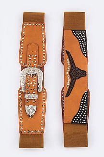 Western Longhorn Stretch Leather Belt