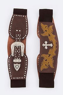 Embroidered Cross Stretch Leather Belt