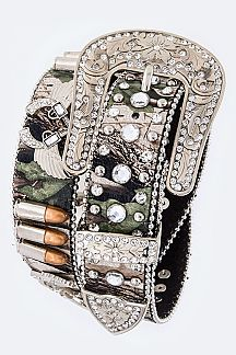 Gun & Bullet Camouflage Crystal Iconic Belt