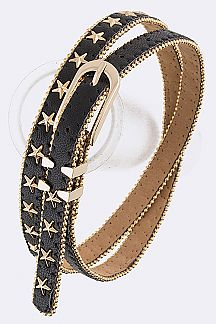Star Studs Skinny Fashion Belt