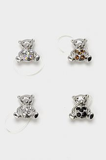 Crystal Bear Elastic Toe Ring