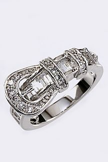 CZ Belt Buckle Ring