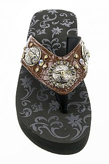 Mix Conchos Western Wedge Flipflops