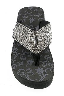 Crystal Cross Iconic Fashion Flip Flops