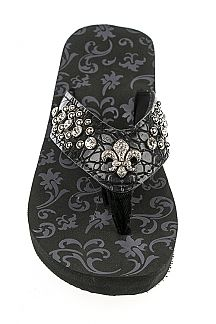 Crystal Fleur De Lis & Mix Studs Fashion Flip Flops - Low