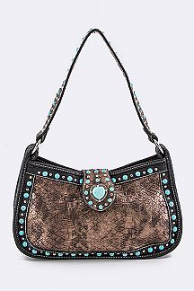 Turquoise Studs Shoulder Bag