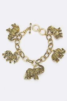 Mix Elephant Charms Chain Bracelet