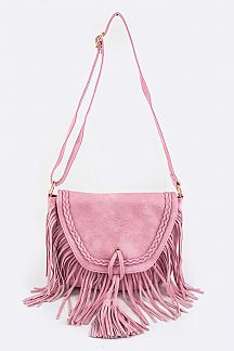 Tassels & Fringe Leather Crossbody Bag