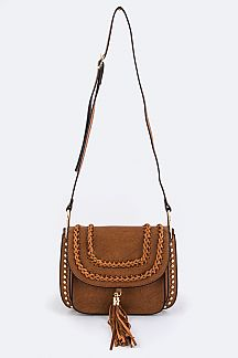 Tassel & Studded Crossbody Bag - L