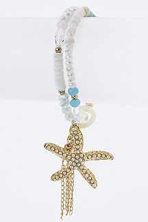 Mix Beads & Starfish Charm Stretch Bracelet