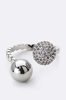 CZ & Metal Ball Tipped Ring