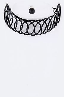 Looping Wire Choker Necklace Set