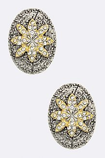 Crystal Flower 2 Tone Oval Stud Earrings