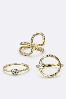 Mix Crystal Rings Set