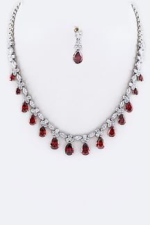 CZ Teardrops Statement Necklace Set