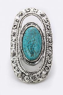 Oval Turquoise & Vortex Stretch Ring