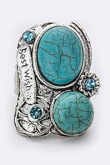 BEST WISH Turquoise & Crystal Stretch Ring