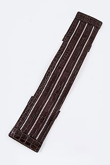 Croco Embossed Multi Zip Iconic Fashion Stretch Belt