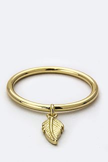 Dangle Leaf Charm Ring