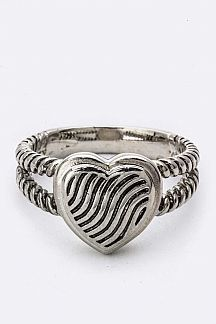 Textured Heart Designer ring