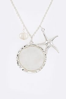 Shell Disk Starfish Charms Necklace Set