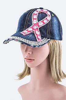 Pink Ribbon Crystal Embellished Fashion Denim Cap