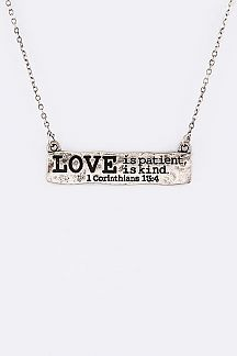 1 Corinthians 13:4 Engraved Tag Pendant Necklace Set