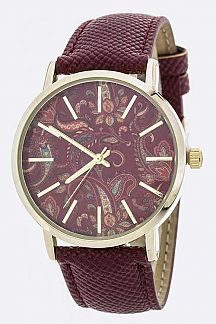 Paisley Print Crystal Fashion Watch